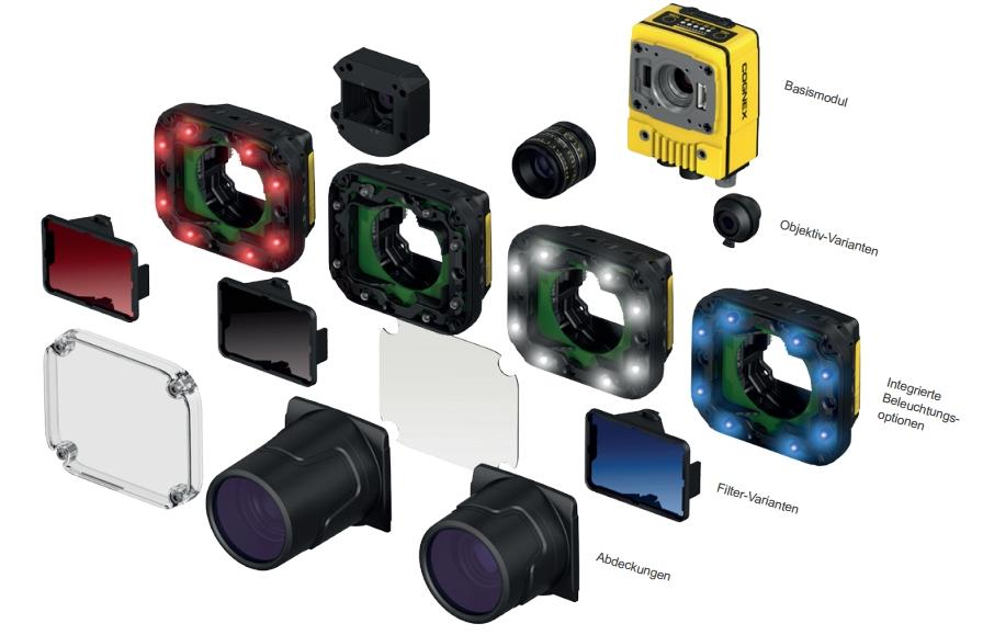 Intelligente Kamera In-Sight 7000 Gen 2 und verschiedene Aufsätze